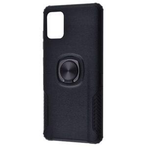 Ударопрочный чехол Leather Design With Ring (PC+TPU) под магнитный держатель для Huawei P40 Lite — Black