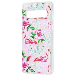 TPU+PC чехол Lovely Stream с переливающимися блестками для Samsung Galaxy S10 Plus (G975) – Flamingo and cactus