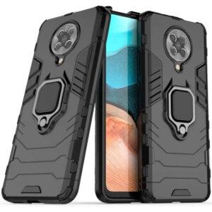 Ударопрочный чехол Transformer Ring под магнитный держатель для Xiaomi Redmi K30 Pro / Poco F2 Pro – Черный / Soul Black