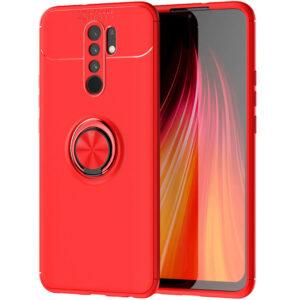 Cиликоновый чехол Deen ColorRing c креплением под магнитный держатель для Xiaomi Redmi 9 – Красный