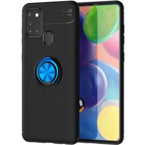 Cиликоновый чехол Deen ColorRing c креплением под магнитный держатель для Samsung Galaxy A21s – Черный / Синий