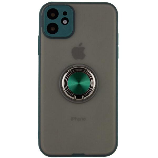 Чехол TPU+PC Deen Shadow Ring series с креплением под магнитный держатель для Iphone 11 — Зеленый