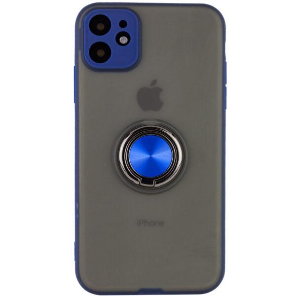 Чехол TPU+PC Deen Shadow Ring series с креплением под магнитный держатель для Iphone 11 — Синий