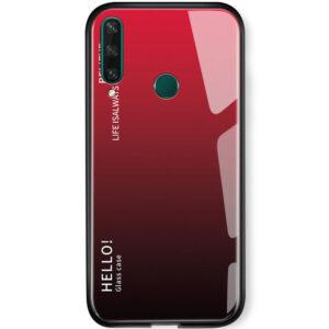TPU+Glass чехол Gradient HELLO с градиентом для Huawei Y6P – Красный