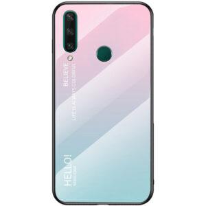 TPU+Glass чехол Gradient HELLO с градиентом для Huawei Y6P – Розовый / Мятный