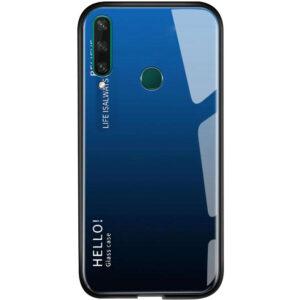 TPU+Glass чехол Gradient HELLO с градиентом для Huawei Y6P – Синий / Черный