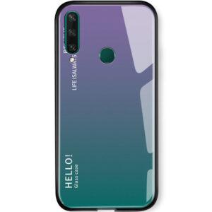 TPU+Glass чехол Gradient HELLO с градиентом для Huawei Y6P – Сиреневый