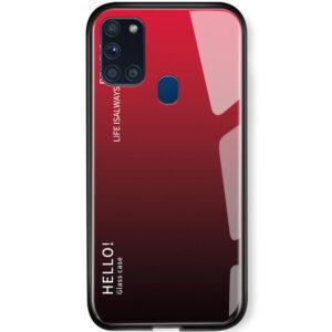 TPU+Glass чехол Gradient HELLO с градиентом для Samsung Galaxy A21s – Красный