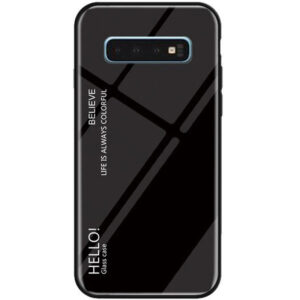 TPU+Glass чехол Gradient HELLO с градиентом для Samsung Galaxy S10 Plus (G975) – Черный