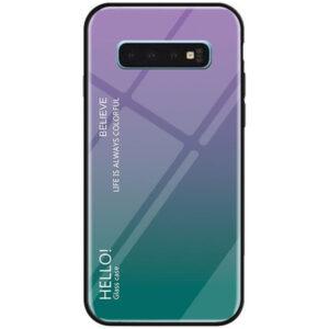 TPU+Glass чехол Gradient HELLO с градиентом для Samsung Galaxy S10 Plus (G975) – Фиолетовый