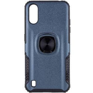 Ударопрочный чехол Leather Design With Ring TPU+PC под магнитный держатель для Samsung Galaxy A01 – Металл / Gun Metal