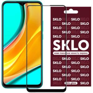Защитное стекло 3D / 5D Premium SKLO Full Glue на весь экран для Xiaomi Redmi 9 – Black