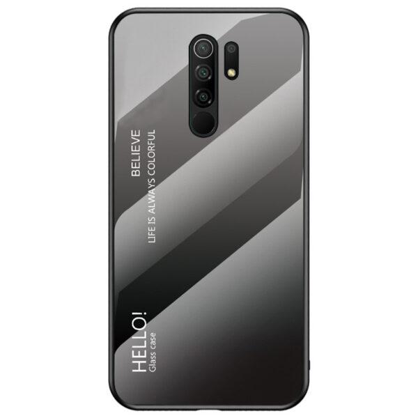 TPU+Glass чехол Gradient HELLO с градиентом для Xiaomi Redmi 9 – Черный / Серый