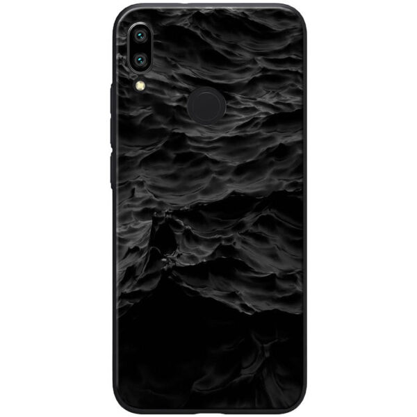 TPU+Glass чехол ForFun для Xiaomi Redmi Note 7 / Note 7 Pro – Море / Черный