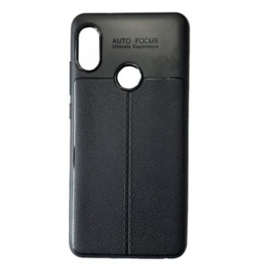 TPU чехол фактурный (с имитацией кожи) для Xiaomi Redmi Note 5 / 5 Pro – Черный