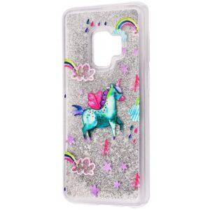 TPU+PC чехол Lovely Stream с переливающимися блестками для Samsung Galaxy S9 Plus (G965) – Green unicorn
