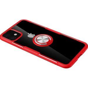 Чехол TPU+PC Deen CrystalRing с креплением под магнитный держатель для Iphone 11 — Красный