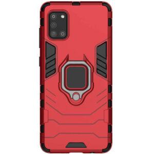 Ударопрочный чехол Transformer Ring под магнитный держатель для Samsung Galaxy A31 – Красный / Dante Red