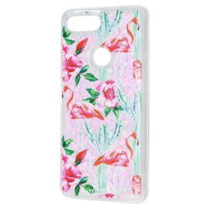 TPU+PC чехол Lovely Stream с переливающимися блестками для Xiaomi Mi 8 Lite / Mi 8 Youth – Flamingo and cactus