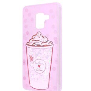 TPU+PC чехол Lovely Stream с переливающимися блестками для Samsung Galaxy S9 (G960) – Ice cream coffee pink