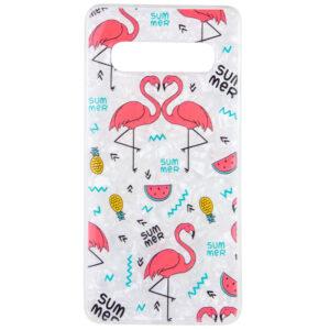 TPU чехол Glue Case Фламинго для Samsung Galaxy S10 Plus (G975) – Белый