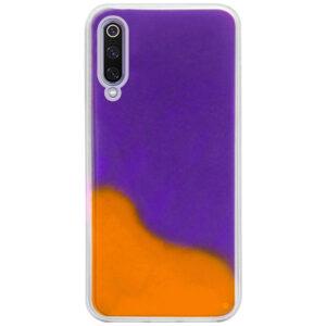 Неоновый чехол Neon Sand светящийся в темноте для Xiaomi Mi 9 – Фиолетовый / Оранжевый