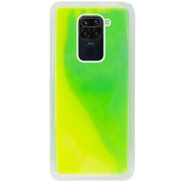 Неоновый чехол Neon Sand светящийся в темноте для Xiaomi Redmi Note 9 / Redmi 10X – Зеленый