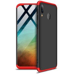 Матовый пластиковый чехол GKK 360 градусов для Samsung Galaxy A20s 2019 (A207) – Черный / Красный