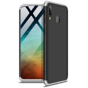 Матовый пластиковый чехол GKK 360 градусов для Samsung Galaxy A20s 2019 (A207) – Черный / Серебряный