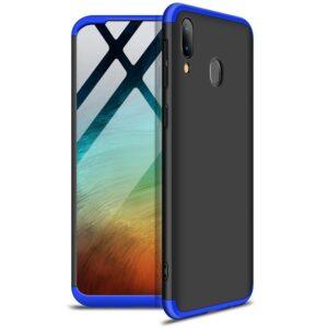 Матовый пластиковый чехол GKK 360 градусов для Samsung Galaxy A20s 2019 (A207) – Черный / Синий