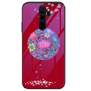 TPU+Glass чехол Night case светящийся в темноте для Xiaomi Redmi Note 8 Pro – Цветное плетение / Красный