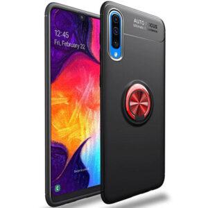 Cиликоновый чехол Deen ColorRing c креплением под магнитный держатель для Samsung Galaxy A70 2019 (A705) – Черный / Красный