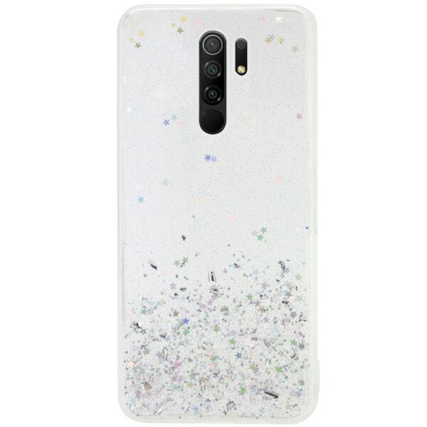 Cиликоновый чехол с блестками Shine Glitter для Xiaomi Redmi 9 – Прозрачный