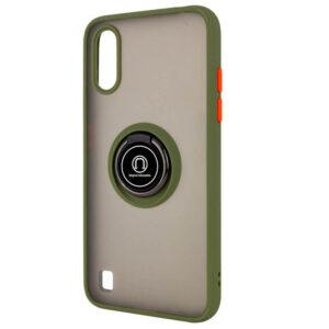 Чехол TPU+PC Deen ColorEdgingRing с креплением под магнитный держатель для Samsung Galaxy A01 – Оливковый