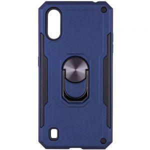 Ударопрочный чехол SG Ring Color под магнитный держатель с кольцом для Samsung Galaxy A01 – Синий