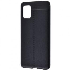 TPU чехол фактурный (с имитацией кожи) для Samsung Galaxy M51 – Черный