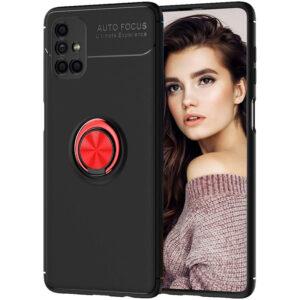 Cиликоновый чехол Deen ColorRing c креплением под магнитный держатель для Samsung Galaxy M51 – Черный / Красный