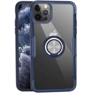 Чехол TPU+PC Deen CrystalRing с креплением под магнитный держатель для Iphone 12 Pro / 12 – Темно-синий