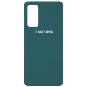 Оригинальный чехол Silicone Cover 360 с микрофиброй для Samsung Galaxy S20 FE – Зеленый / Pine green