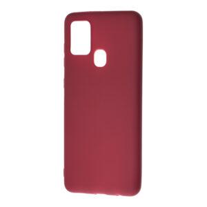 Матовый силиконовый TPU чехол для Samsung Galaxy A21s – Бордовый