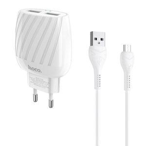 Сетевое зарядное устройство HOCO C78A + кабель MicroUSB 2USB 2.4A – White