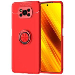 Cиликоновый чехол Deen ColorRing c креплением под магнитный держатель для Xiaomi Poco X3 NFC / Poco X3 – Красный