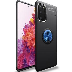 Cиликоновый чехол Deen ColorRing c креплением под магнитный держатель для Samsung Galaxy S20 FE – Черный / Синий