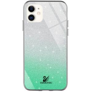 Чехол с блестками Swarovski TPU+Glass для Iphone 12 Mini – Бирюзовый