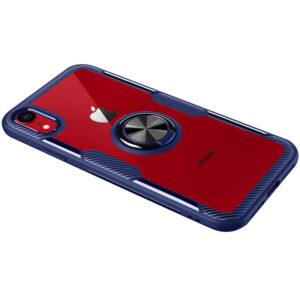 Cиликоновый чехол Deen CrystalRing c креплением под магнитный держатель для Iphone XR – Синий