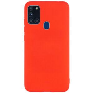 Матовый силиконовый TPU чехол для Samsung Galaxy A21s – Красный