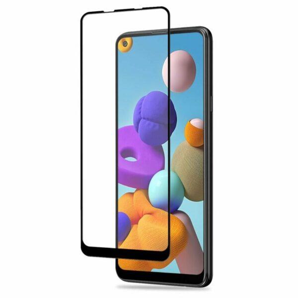 Защитное стекло 3D (5D) Full Glue Armor Glass на весь экран для Samsung Galaxy A21s – Black