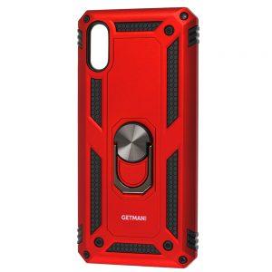 Ударопрочный чехол GETMAN Serge Ring под магнитный держатель с кольцом для Xiaomi Redmi 9A – Красный