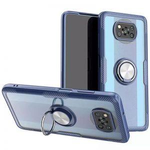 Cиликоновый чехол Deen CrystalRing c креплением под магнитный держатель для Xiaomi Poco X3 NFC / Poco X3 – Темно-синий