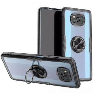 Cиликоновый чехол Deen CrystalRing c креплением под магнитный держатель для Xiaomi Poco X3 NFC / Poco X3 – Черный